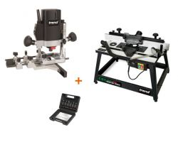 "TREND T5EB 1/4"" Router + CRT/MK3 Router Table + SS11 6pc 1/4\"" Cutter Set - £349.62 INC VAT"