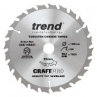 TREND CSB/16524T CRAFT SAW BLADE 165.0MM X 20.0MM X 24T THIN KERF