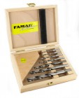 Famag Bard point drill bit, HSS-G, long, set of 7pcs in wooden case