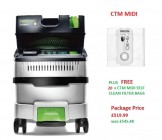 Festool 574826 Festool CLEANTEC CTM MIDI I GB 240V Mobile Dust Extractor PACKAGE