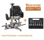 "Trend T11EK 1/2"" Plunge Router & 6 Piece Router Cutter Set Package"