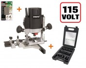 "TREND T5ELB 1/4"" Plunge Router 110V +24pc Cutter Set +Diamond Stone +3yr Warranty"